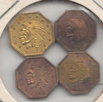 """4 Old """"California Gold"""" Tokens (not real California Gold). Toned & 99 cent w/NR!"""