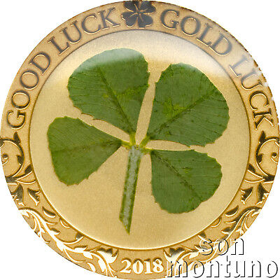 2018 Palau - GOOD LUCK - 1 gram .9999 Gold Proof Coin WITH REAL 4 LEAF CLOVER