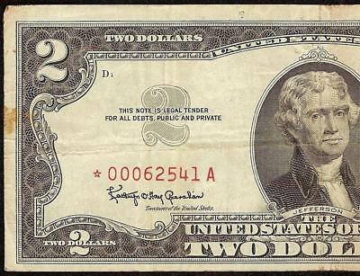 Star 1963 $2 Dollar Bill Red Seal Note United States Legal Tender Currency Money