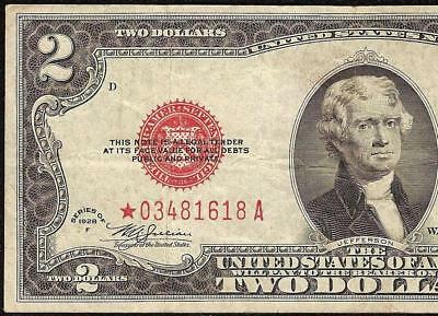 1928F STAR $2 TWO DOLLAR BILL UNITED STATES LEGAL TENDER RED SEAL NOTE Fr 1507*