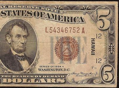 1934 A $5 Dollar Bill Wwii Ww2 Hawaii Brown Seal Fed Note Currency Paper Money