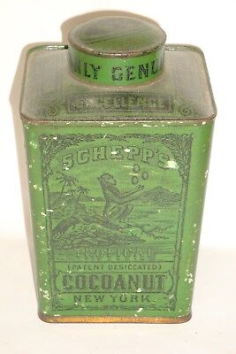 Nice Old Early Tin Litho Schepp's Brand Cocoanut Advertising Spice Tin Can Green