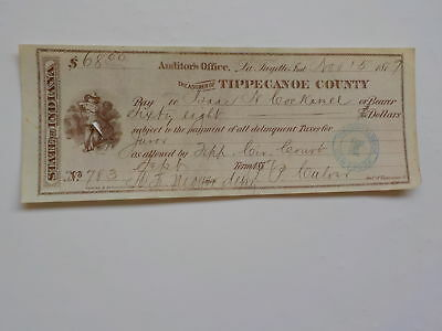 Antique Check 1879 Black White Boy Juror Tippecanoe County Indiana Lafayette VTG