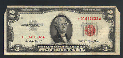 $2 DOLLAR 1953 STAR RED SEAL OLD Legal Tender US Note Replacement MONEY Bill