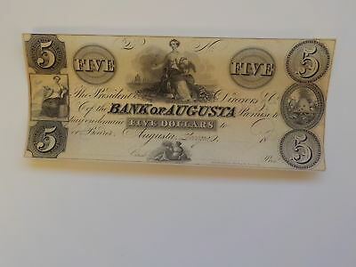 Currency Note 1800s 5 Dollar Bill Ship Bank Of Augusta Georgia Paper Money USA N