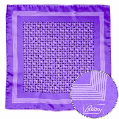 Men's BRIONI Purple Hand Made Rolled Silk Pocket Square Handkerchief Hanky