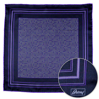 Men's BRIONI Purple Polka Dot Silk Hand Made Rolled Pocket Square Handkerchief