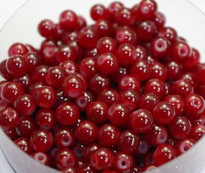 100pcs Dark Red Round Glass Beads Spacer Bead Jewelry Accessories 8mm DF427