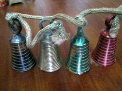 Vintage 1950s Sarna India brass Christmas bells on a rope