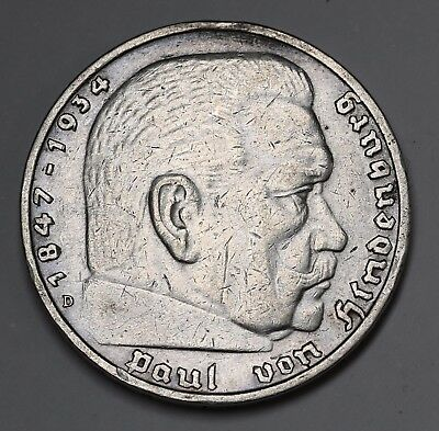 1935 D Germany Silver 5 Mark Hindenburg 5 Reichsmark KM# 86