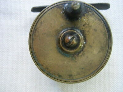 "Early C1900  2 1/4""  Plate Wind Fly Fishing Brass Reel Made UK scarce Trout"