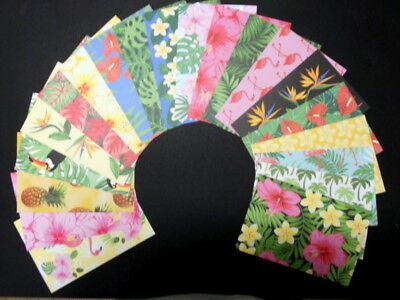"""TROPICAL"" Colourful Scrapbooking/Cardmaking Papers x 20 - 15cm x 10cm (6"" x 4"")"