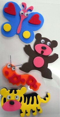 Colourful FOAM STICKERS with GOOGLY EYES - Butterfly, Bear, Tiger, Caterpillar