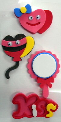 Colourful FOAM STICKERS with GOOGLY EYES -* HEARTS -  KISS  - LOVE*