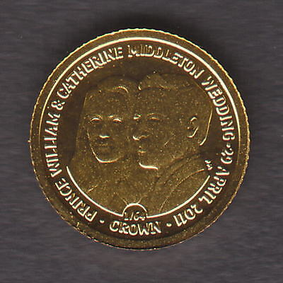 Falkland Islands. 2011 Gold 1/64 Crown.. William & Kate   0.5gms. .. Proof