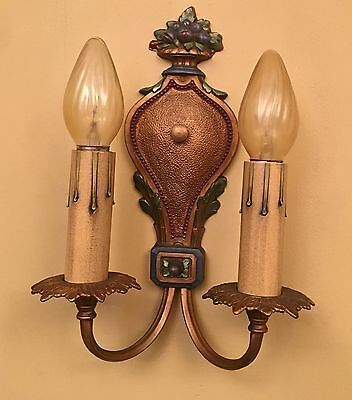 Vintage Lighting pair 1920s polychrome Sconces