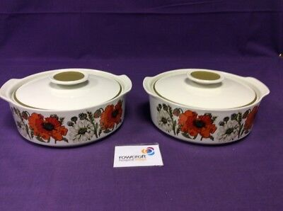 Pair of Poppy Design Meakin Casserole Dishes