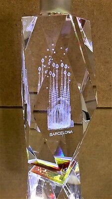Barcelona Prism Paperweight Etched Inside With Sagrada Familia Church Gaudi