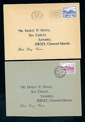 Jersey  1943 Views First Day Covers (2)  2 1/2d and 3d Values   (D967)