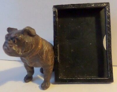 Vintage Cold Painted Spelter/tin Seated Bulldog +Mirror/photo Frame