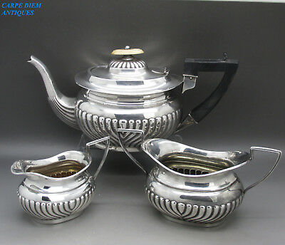 ANTIQUE GREAT SOLID STERLING SILVER BACHELORS 3PS TEA SET, 572g BIRMINGHAM 1903