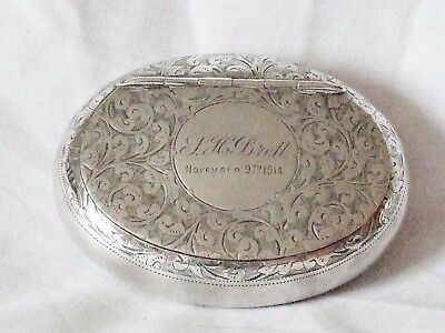 Antique Chased Silver (Birmingham 1913) Pocket Tobacco Box With Sprung Lid