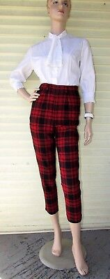 Vtg 50s RED PLAID Wool HIGH WAIST Crop Cigarette PIN-UP Christmas Pants S