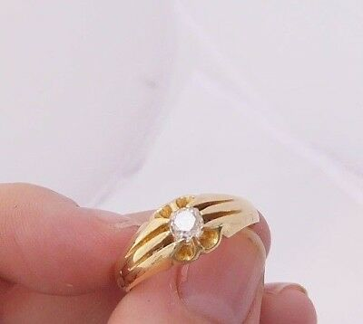 18ct gold 30 point old mined cut Diamond solitaire gypsy set Victorian ring,750