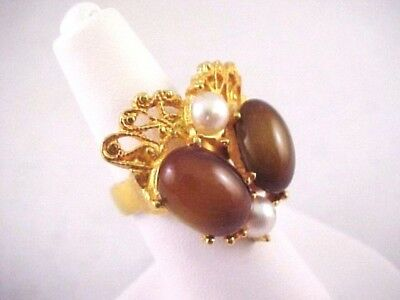 Vtg Brown Glass Cab Gold Tone Adj Ring 6 Fx Pearl Lacy