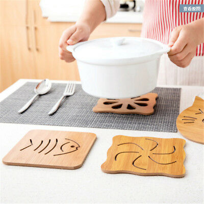 1 Pc Hollow Wooden Kitchen Table Coasters Anti-heat Cup Pot Mat Placemat Pad