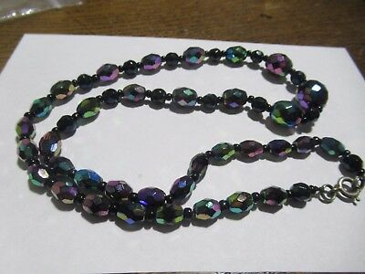 Gorgeous Vintage Art Deco iridescent French Jet graduated necklace, stunning!