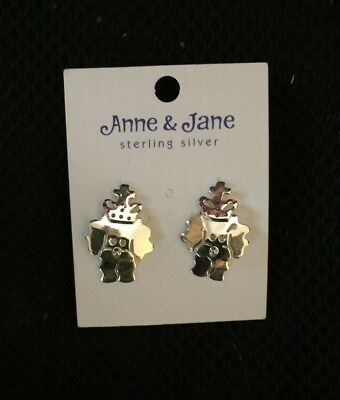 Bichon Stud  Sterling silver earring dangle each with a crown and red jewels NEW