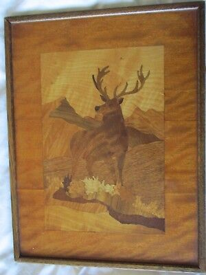 Lovely Antique Vintage Marquetry Picture Stag Deer Against Mountain Backdrop