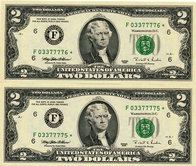 Federal Reserve Note U.S.A.  $2 1995 Replacement Notes  Choice Unc  2 Pcs.