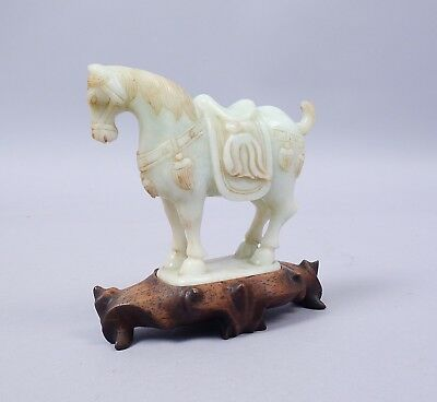 Estate Found Antique Early 20c Chinese Hand Carved Jadeite Horse Figurine