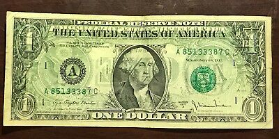 OVER NOTE!  1977 $1 A Series Small Note - Mint Error Overprint Obverse