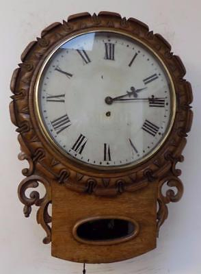 carved oak cased fusee drop dial wall clock