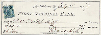 Antique Check  First National Bank, Middletown, Ohio  1877