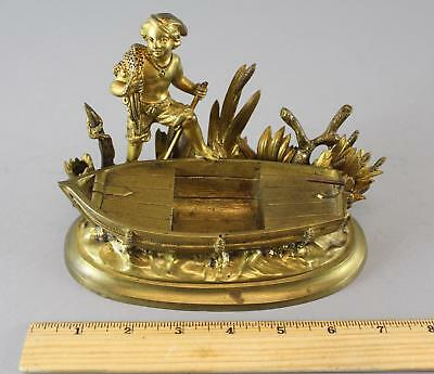 Antique 19thC Gilded Bronze Rowboat Fisherman Double Inkwell Stand, NR