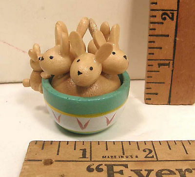 Cut Hand Painted Wooden Easter Miniature Bowl Full Of Bunny Rabbits