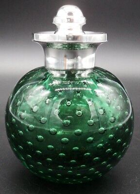 Rare Green Glass Scent Bottle With Solid Silver Applicator Screw Lid London 1901