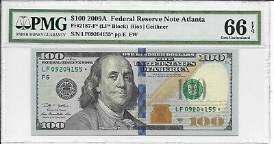 USA, Federal Reserve Note - $100, 2009A.. Star Note (Replacement) PMG 66EPQ