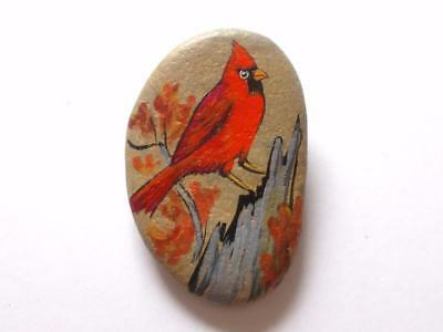 Vintage 1970's Odette Hand Painted Red Cardinal Bird On Pebble Stone Brooch