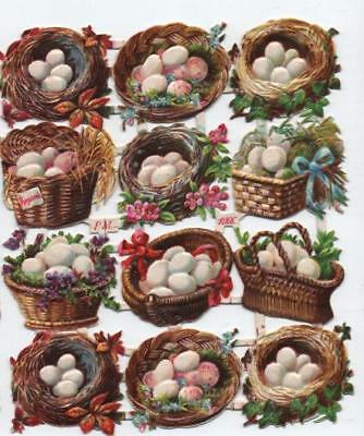 Victorian Die Cut Relief Scrap Sheet. 12 Baskets of Eggs. Pub'd by P.M. #1066