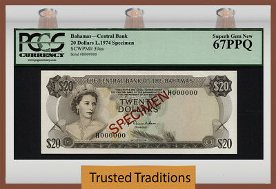 "TT PK 39as 1974 BAHAMAS $20 ""ELIZABETH II"" ""SPECIMEN"" PCGS 67 PPQ SUPERB TOP POP"