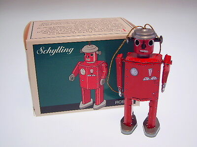 "GSR ROBOT SCHYLLING TIN TOY ORNAMENTS ""ATOMIC MAN"" 9cm, NEU/NEW/NEUF in new BOX!"