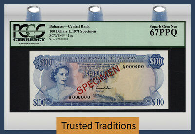 "TT PK 41as 1974 BAHAMAS $100 ""ELIZABETH II"" SPECIMEN PCGS 67 PPQ SUPERB TOP POP!"