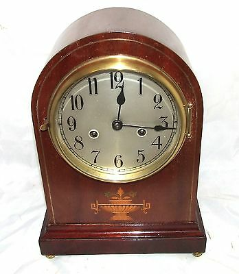 Antique Inlaid Mahogany Bracket Mantel Clock GUSTAV BECKER