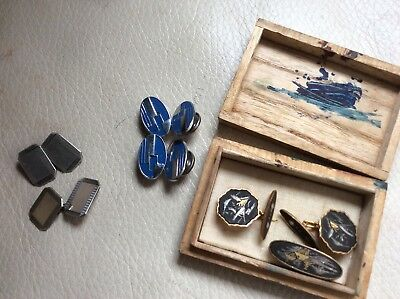 3 Pairs of Antique Cufflinks, Solid Silver, Art Deco