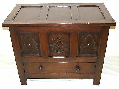 Carved Oak Coffer Blanket Box Shoe Toy Storage Mule Chest ANTIQUE STYLE